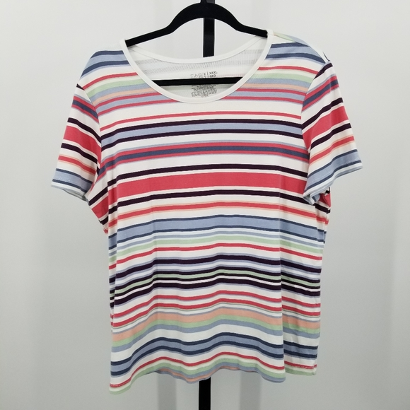 Time and Tru Rainbow Stripe Color Block T - Shirt